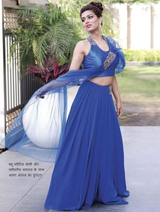 A different style scarf with Blue Pleated Choli and Slylas Blouse